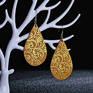 3/$25 NEW Genuine Leather Droplet Earrings